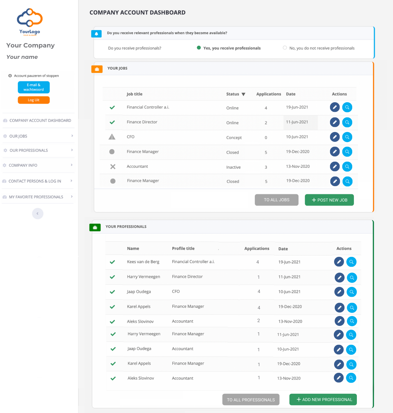 Hybride Account Dashboard